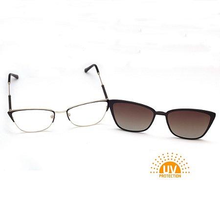 Armação para Óculos de Grau Clip-on Metal Gatinho Marrom com Prata