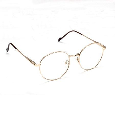 Armação para Óculos de Grau Clip-on Redondo Metal Dourado