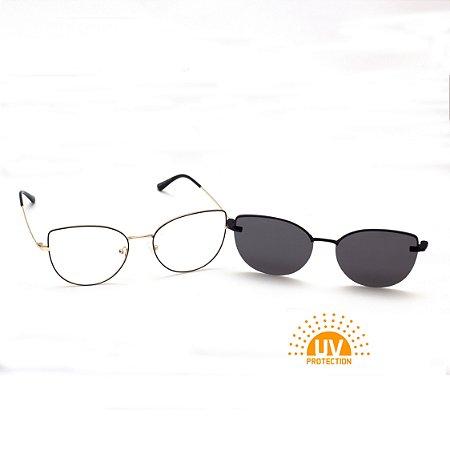 Armação para Óculos de Grau Clip-on Feminino Metal Preto com Prata Gatinho Oval