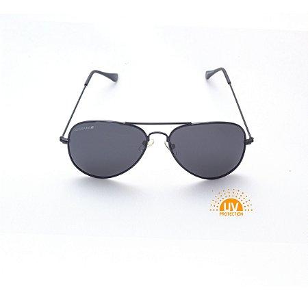 Óculos de Sol Aviador Metal Preto com Lente Cinza Polarizado Afrikan