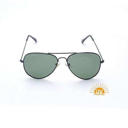 Óculos de Sol Aviador Metal Preto com Lente Verde Polarizado Afrikan