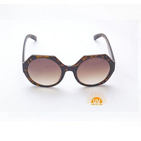Óculos de Sol Feminino Hexagonal Lente Marrom Degradê Afrikan