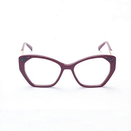 Armação para Óculos de Grau Feminino Acetato Gatinho Bordô