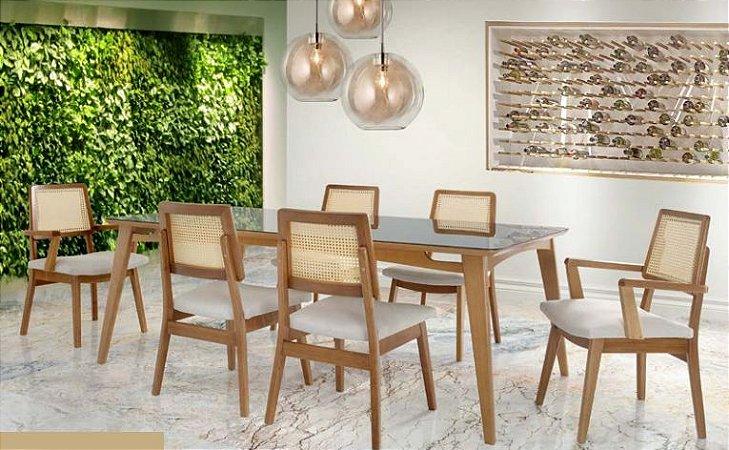 Conjunto de mesa jantar com 6 cadeiras Iza