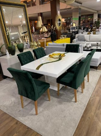 Conjunto de mesa de jantar Nilópolis com 06 cadeiras