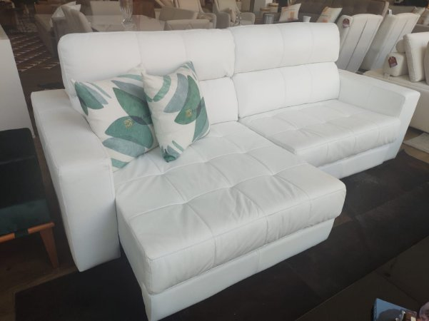 Sofá Bahamas 2,40 - 100% couro branco retrátil e articulado