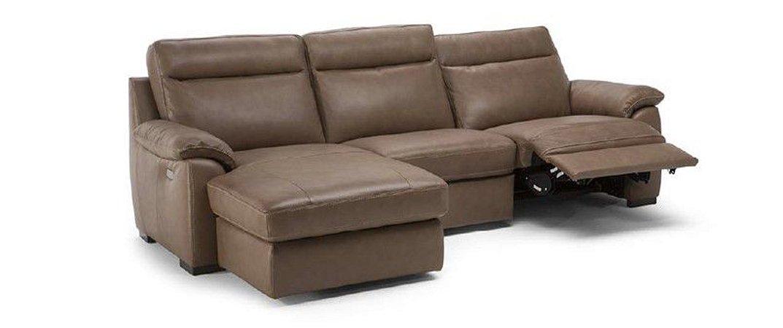 Sofá U210 10ZA c/ dois assentos elétricos reclináveis e Chaise retrátil 2,71m - Natuzzi Group
