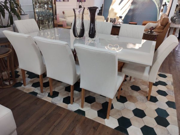 Mesa de jantar Lillian c/ 08 cadeiras