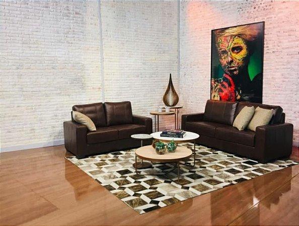 Conjunto estofado s 3/2 lugares sofá haia 100% couro