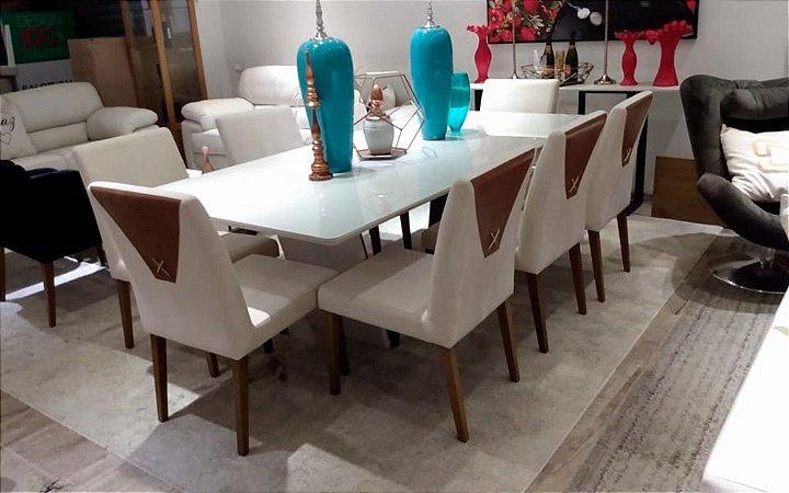 Conjunto de mesa de jantar com 8 cadeiras