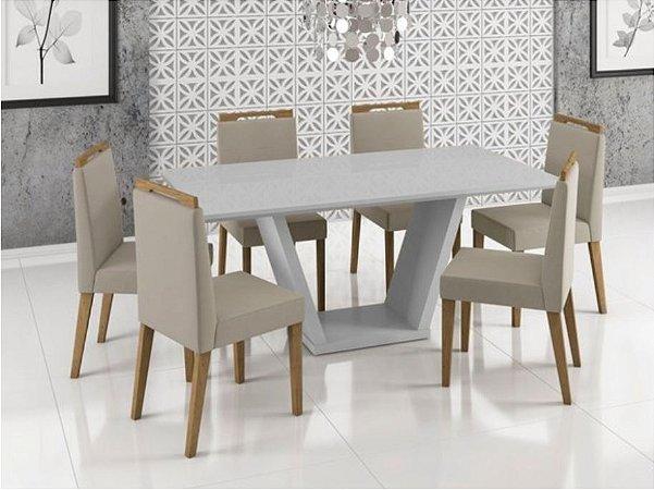 Mesa de Jantar com 6 cadeiras Laca Off White