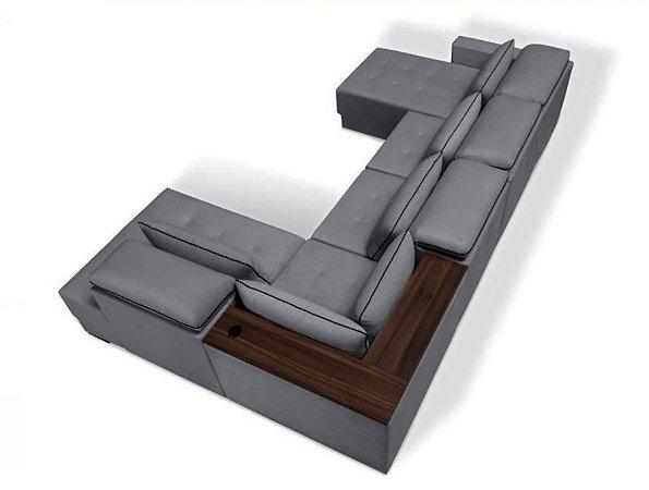 Sofa sd02 mo-fmrt modelo brg com chaise 3,70x 2,30 mts + carregador usb