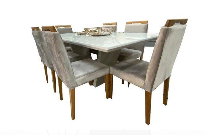 Cjt mesa sd03- off white com cadeiras