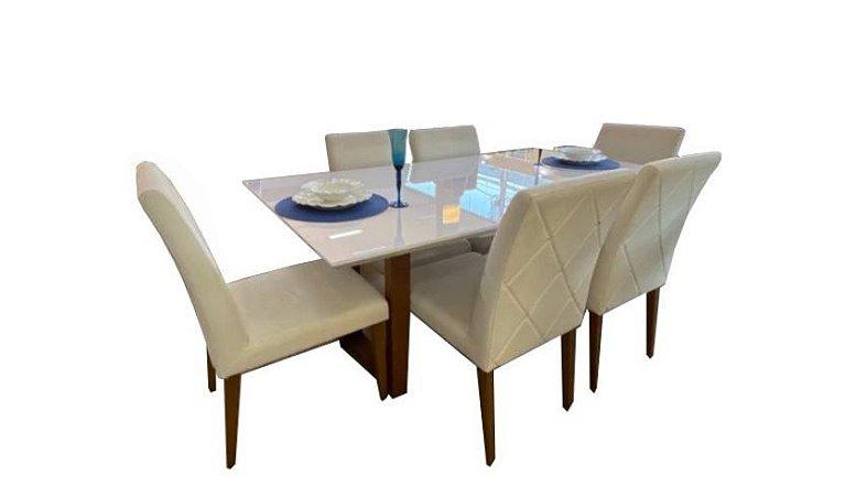 Conjunto mesa de Jantar Bella 1,80x1,00m c/ 06 cadeiras