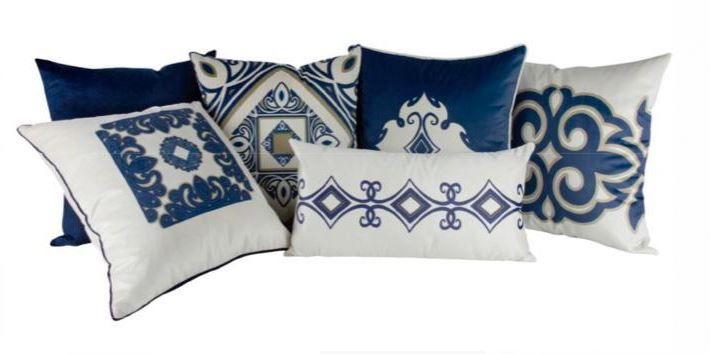 Kit 6 almofadas estampada azul