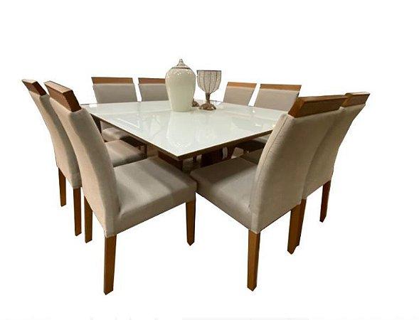 Cjt de mesa quadrada com 8 cadeiras