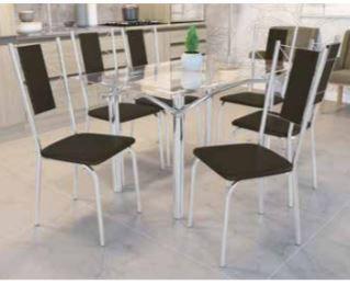 Conjunto mesa tubular com 6 cadeiras