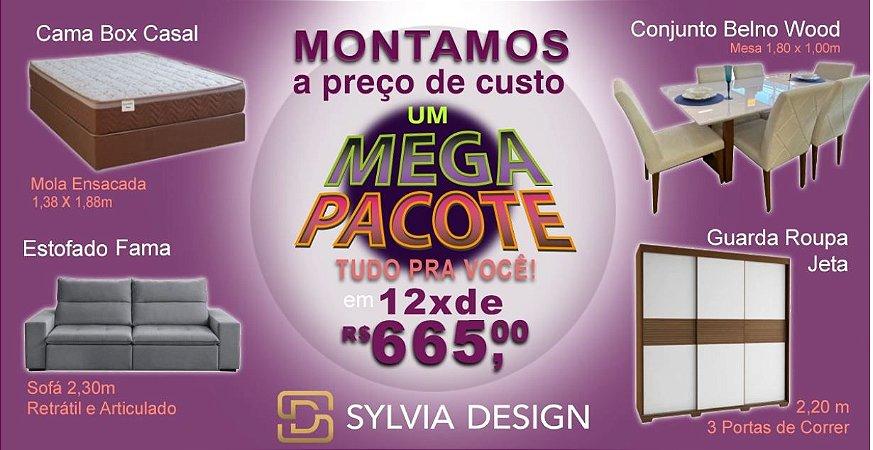 MEGA PACOTE SYLVIA DESIGN ( GUARDA ROUPA + CAMA BOX CASAL + MESA COM 6 CADEIRAS + ESTOFADO)