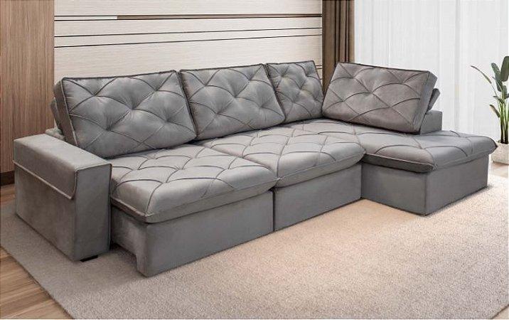 Sofá Retrátil e Articulado com Chaise Lins