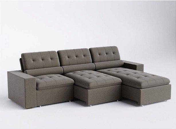 Sofá retrátil e articulado Onix com chaise extensível 3,20 mts
