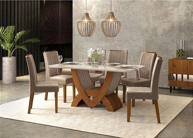 Conjunto Mesa de Jantar Com 6 Cadeiras Roma