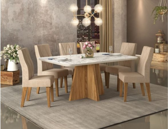 Conjunto de Mesa com 6 Cadeiras Sensitive