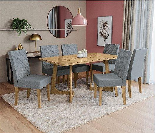 Conjunto Mesa de Jantar com 6 Cadeiras Liana com Vidro