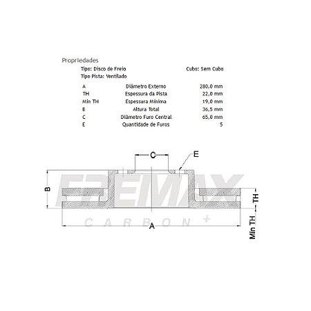 Disco de freio audi / bora / polo / golf dianteiro ventilado bd5603