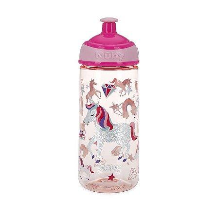Garrafinha de Tritan Squeeze com Glitter 540ml - Rosa - Nûby
