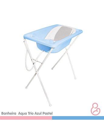Banheira Bebê Plástica Acqua Trio - Azul Pastel - Galzerano