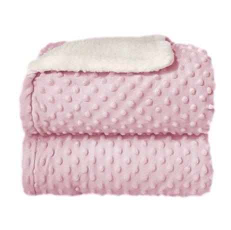 Cobertor Sherpam Dots - Rosa Baby - Laço Bebê