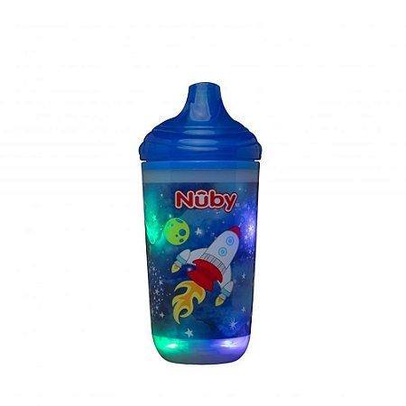 Copo Térmico Pisca-Pisca com Bico Rígido 300ml - Azul - Nûby