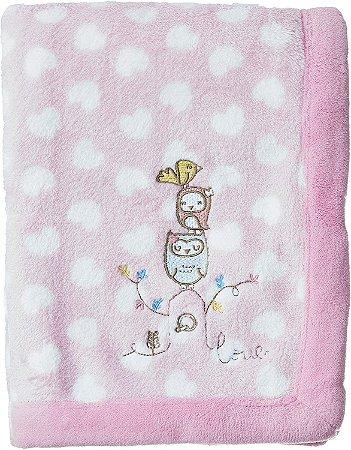 Manta Fleece - Coleção Mini Passarinhos - Rosa - Lepper
