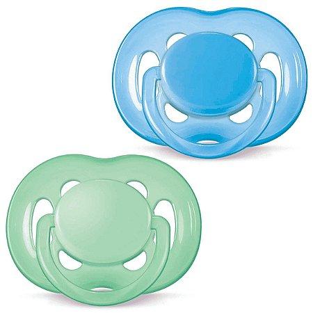 Chupeta FreeFlow 6-18m - Azul e Verde - 2 un - Philips Avent