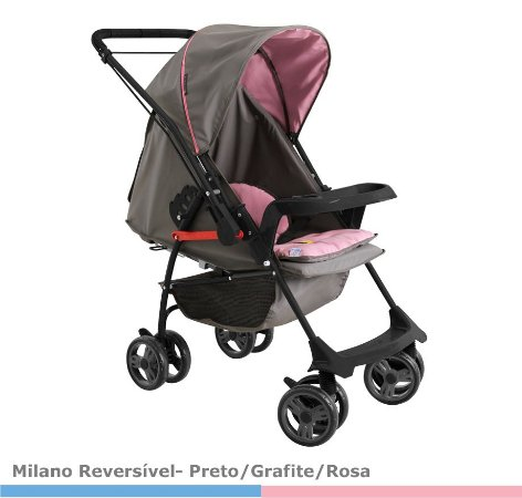 Carrinho Milano Reversível II - Preto/Grafite/Rosa - Galzerano