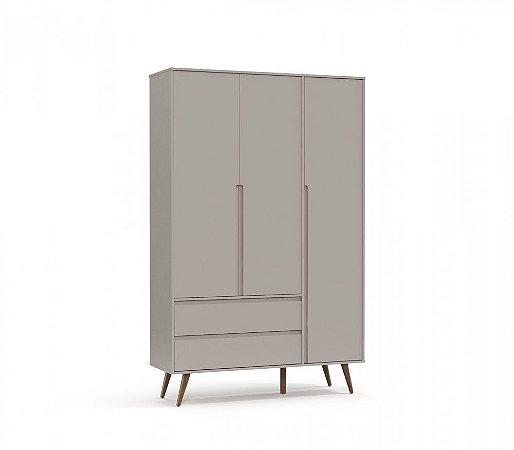 Guarda Roupa 3 Portas Retrô Clean Eco Wood - Cinza - Matic