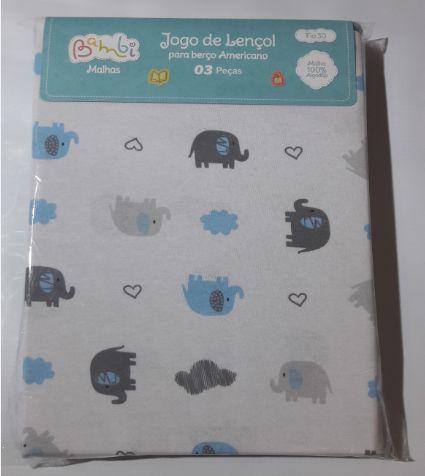 Jogo de Lençol 3 Peças Elefante - Azul - Bambi