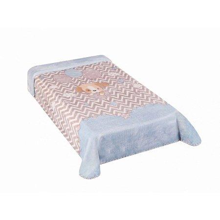 Cobertor Hipoalérgico Le Petit - Cachorrinho Azul - Colibri