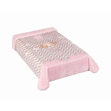 Cobertor Hipoalérgico Le Petit - Cachorrinho Rosa - Colibri