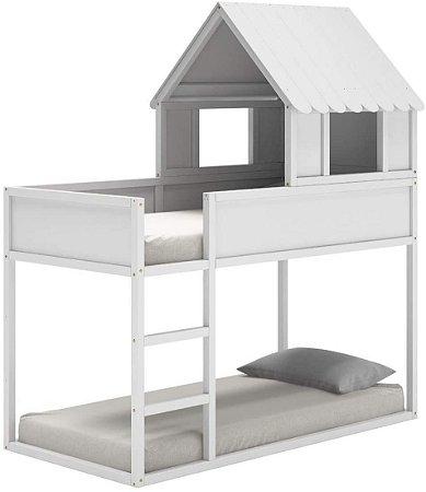 Cama Infantil com Casinha Telhado e Escadinha Fun - Branco Fosco - Quater