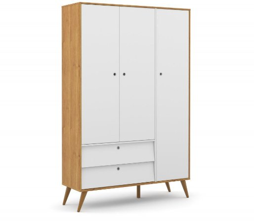 Guarda Roupa 3 Portas Gold Eco Wood - Freijó/Branco Soft - Matic