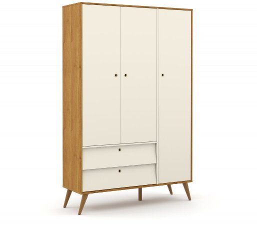 Guarda Roupa 3 Portas Gold Eco Wood - Freijó/Off White - Matic