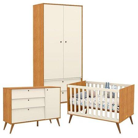 Guarda Roupa 2 Portas + Cômoda + Berço Gold Eco Wood - Freijó/Off White - Matic