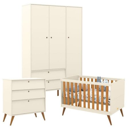Guarda Roupa 3 Portas + Gaveteiro + Berço Gold Eco Wood - Off White/Freijó - Matic