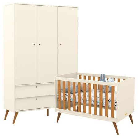 Guarda Roupa 3 Portas +  Berço Gold Eco Wood - Off White/Freijó - Matic