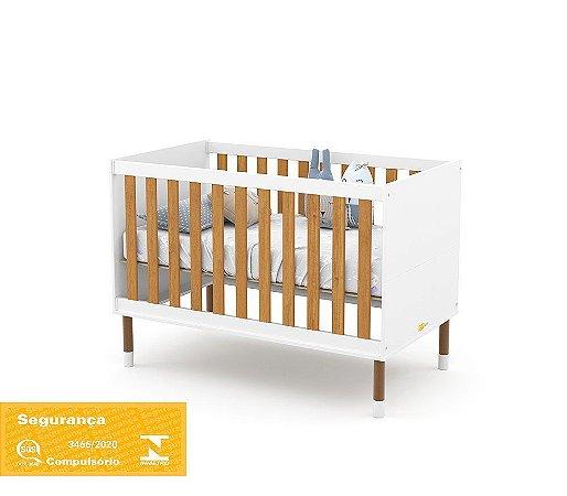 Berço Up Eco Wood - Branco Soft/Freijó - Matic