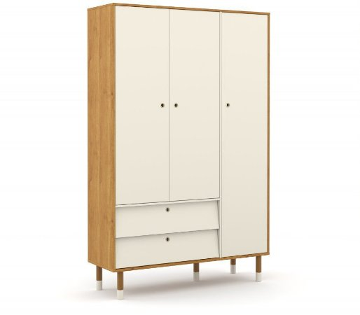 Guarda Roupa 3 Portas Up Eco Wood - Freijó/Off White - Matic