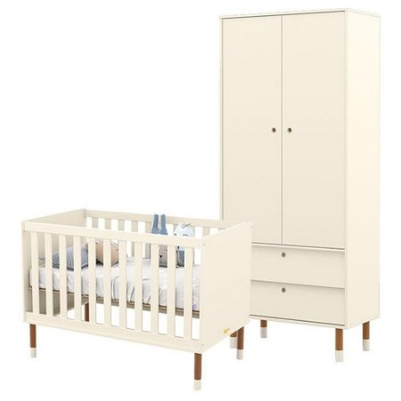 Guarda Roupa 2 Portas + Berço Up Eco Wood - Off White - Matic