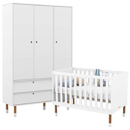 Guarda Roupa 3 Portas + Berço Up Eco Wood - Branco Soft - Matic