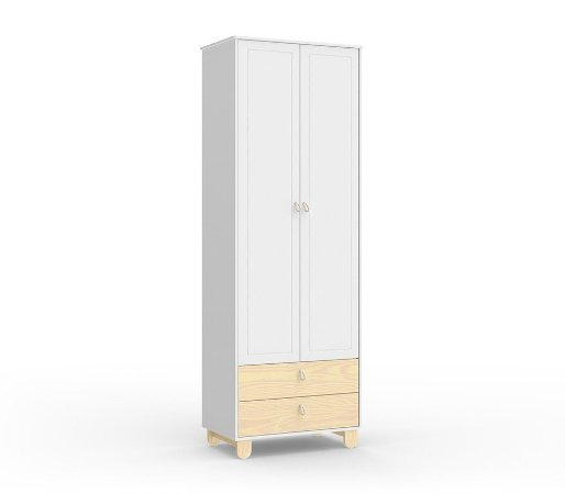Guarda Roupa Rope com 2 Portas - Branco Soft/Natural - Matic